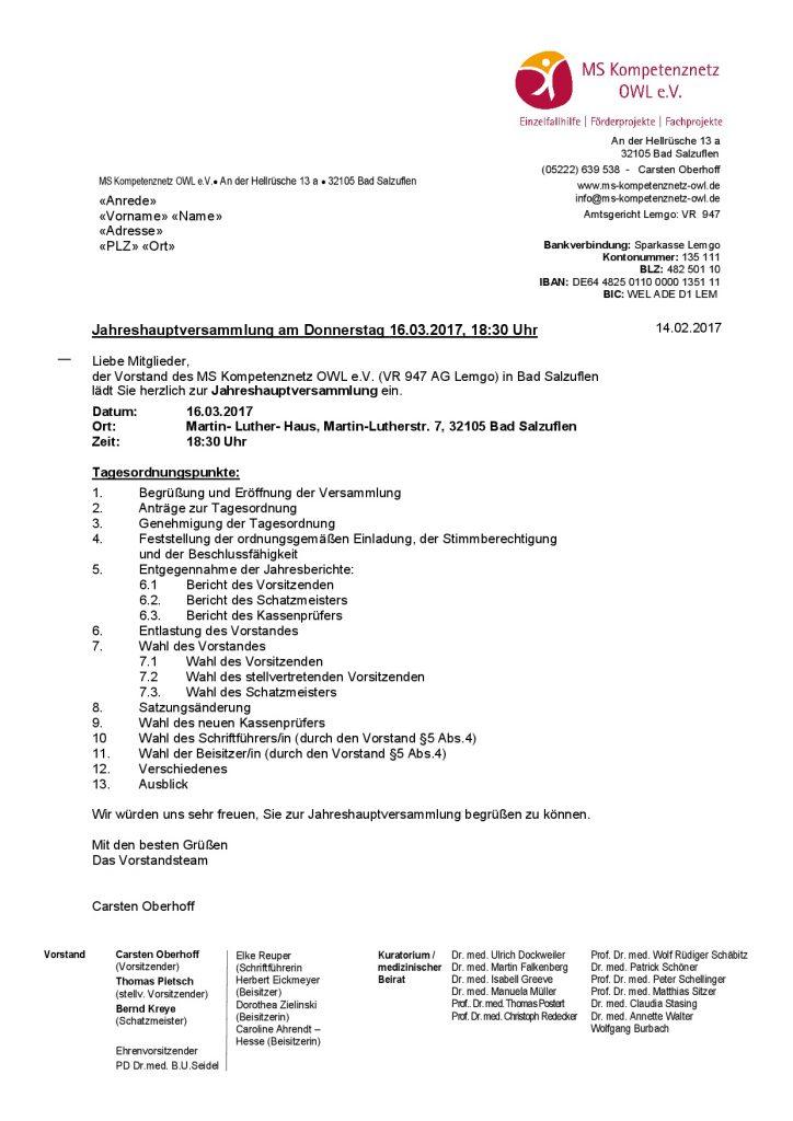 Einladung zur Jahreshauptversammlung 2017