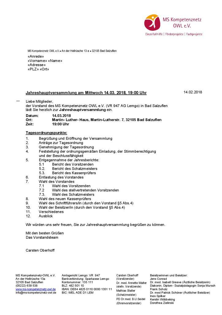 Einladung zur Mitgliederhauptversammlung 14.03.2018